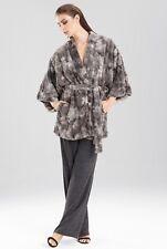 Natori Faux Fur Short Kimono Robe Dark Gray Size L Large Wrap Belt Nwt $160
