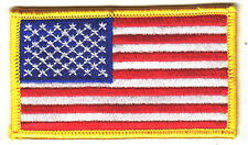 "AMERICAN FLAG, w/YELLOW BORDER(3 1/4"" x 2"")-Iron On Patch/Patriotic,USA,Military"