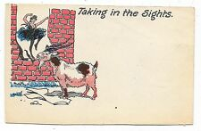VINTAGE COMIC POSTCARD GOAT EATING POSTER BALLERINA DANCING OFF RED BRICK WALL