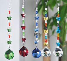Set 5 Stained Glass Crystal Prisms Ball Suncatchers Hanging Butterfly Pendant