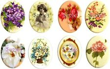 Victorian Stickers 16 Ovals Altered Art Floral Beauties Vintage Cut Peel Stick