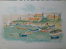 Urbain Huchet Lithographie port Côte d'Azur New York Paris Egypt P1296