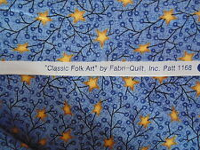 Classic Folk Art cotton print by Fabri-Quilt, patt.  1168 in blue for patchwork