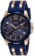 GUESS Rigor W0366G4, Blue & Rose Gold Rubber Strap Watch for Men