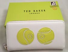 Ted Baker Folded Zip Around Tennis Applique Leather Matinee Purse with box White