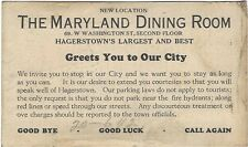 1920's Large Business Card - The Maryland Dining Room, Hagerstown, Maryland