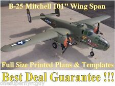 """B25 Mitchell 101"""" WS Giant Scale RC Airplane Full Size PRINTED Plans & Templates"""