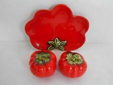 Red Ripe Tomatoes Salt & Pepper Shakers w/ Serving Relish Plate Holder