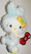 Hello Kitty Light Blue Fuzzy Bunny Rabbit Plush with pink bow 9 inch Doll Sanrio