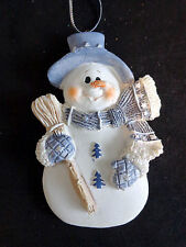 "SNOWMAN Christmas Ornament 3.5"" Blue with Scarf Hat and Broom Resin"