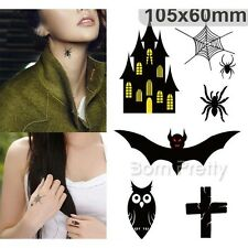 1 Sheet Halloween Bat Castle Temporary Tattoo Sticker Waterproof Body Art Tattoo