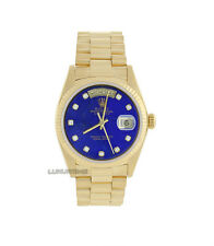 Rolex Mens Watch 18K Gold President 18238 Blue Lapis Diamond Dial Quickset Mint