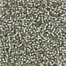 Toho Round Size 11/0 Seed Beads Silver Lined Frosted Black Diamond 8.2g (L21/3)