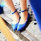 Sweet Womens Ankle Strap Pointed Toes Ballet Flats Slip On Loafer Casual Shoes