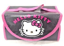 Hello Kitty Black and Pink White Polka Dots 4 Pocket Hanging Toiletry Case