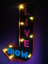 LIVE SHOW FRECCIA LUCE LED Segno al Neon strip club Retrò Vintage SOHO London vac205