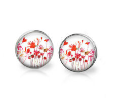 Elegant  Red Flower stud earrings-Silver plated Cabochon- Dainty women or girls