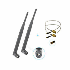 2 x Dual Band WiFi 6dBi Antennas RP-SMA 2.4Ghz 5Ghz with U.Fl Cable 12'' length