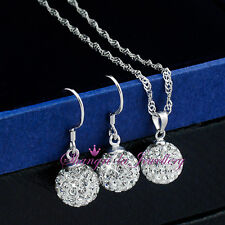 925 STERLING SILVER Womens BALL NECKLACE EARRINGS SET SWAROVSKI CRYSTAL EFX009