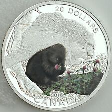 2016 $20 Baby Animals: Baby Porcupine - 1 oz 99.99% Pure Silver Color Proof Coin
