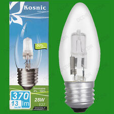 2x 28W (=40W) Dimmable Halogen Clear Candle Light Bulbs ES E27 Screw Lamps