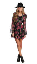 Women's Country Western Dress Large Boho Floral Red Black Bohemian M