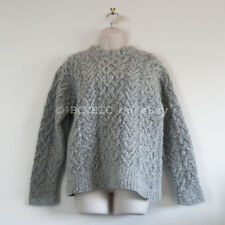 100% authentic ISSEY MIYAKE cable knit sweater jumper grey wool blend M 6 8 10