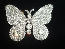 Large Pin Brooch Butterfly Rhinestone Crystal Genuine Vintage Antique Shiny