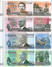 CAMBODIA 100 500 1000 2000 RIELS 2012-2014 UNC P 63 64 65 66