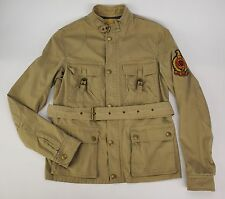 Rare RALPH LAUREN RUGBY Tan Cotton Zip-Front Belted Military Patch Jacket S Slim