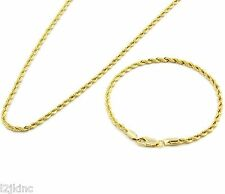 "Men's 14k Gold Plated 24"" Inch 3mm Hip-Hop Dookie Rope Chain & Bracelet Set"