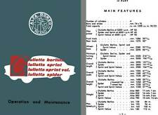 Alfa Romeo 1957 - Operation and Maintenance Manual Giulietta Berlina, Sprint, Sp