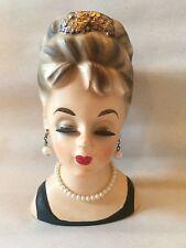 Lady Head Planter Vase Inarco E1062 Tiara & Pearls Audrey Hepburn Vintage