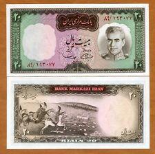 Iran, 20 Rials, (1969), P-84, UNC   Shah Pahlavi