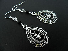A PAIR OF SPIDER WEB  CRYSTAL GLASS BEAD TIBETAN SILVER   EARRINGS. NEW.