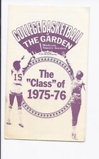 College Basketball schedule Class of 1975-76 Madison Square Garden