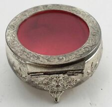 Small Round Cast Metal Jewelry Casket Ring Box Clear Window Lid Floral Chasing