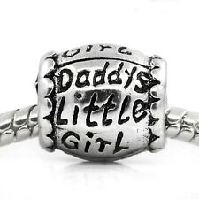 Daddy's Little Girl Daughter Family Bead for Silver European Charm Bracelets