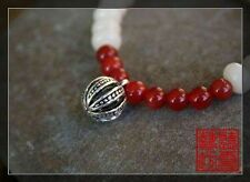 Buddhism White Creamy Bodhi Root Beads Red Carnelian Agate Miao Silver Bracelet
