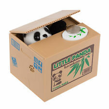 Little Panda Automated Stealing Coin Money Piggy Bank Storage Saving Box Xmas LL
