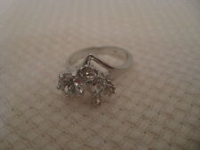 SILVER TONE SIZE 6 1/2 – 7 RING WITH 5 CUBIC ZIRCONIA STONES