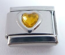 BROWN HEART GEM Italian Charm - Love November Birthstone 9mm classic size GEMS