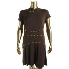 MICHAEL Michael Kors 6681 Womens Brown Studded Short Sleeve Casual Dress XL BHFO