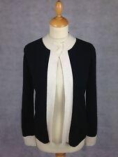 "Neiman Marcus Open Cardigan in Black + White in 100% Cashmere - M (34"")"