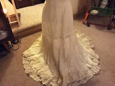 Antique Victorian Finest Cotton Skirt w/French Valenciennes Lace Ruffles & Inset