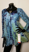 Hippie Boho Gothic Grunge Floral Tie Dye Blue Blouse Dress Tunic TOP Godsent
