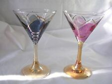 2 Lavorato A Mano Cristall Cordial Port Glasses pink &  blue with gold decor