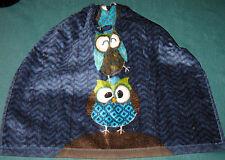 Crochet Kitchen Hanging Towel,  3 Owls, Navy Blue Crochet top