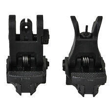 Flip Up Mil Spec Iron Sights Front + Rear Sight Mounts Set Matte Black HOT New