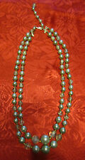 Japan Bead Green / Blue Necklace 2 Tiered Strand String Vintage Nice!